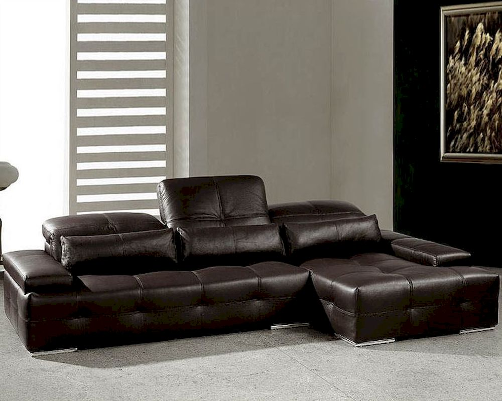 Modern chocolate tufted leather sectional sofa set 44l0568 for Tufted couch set