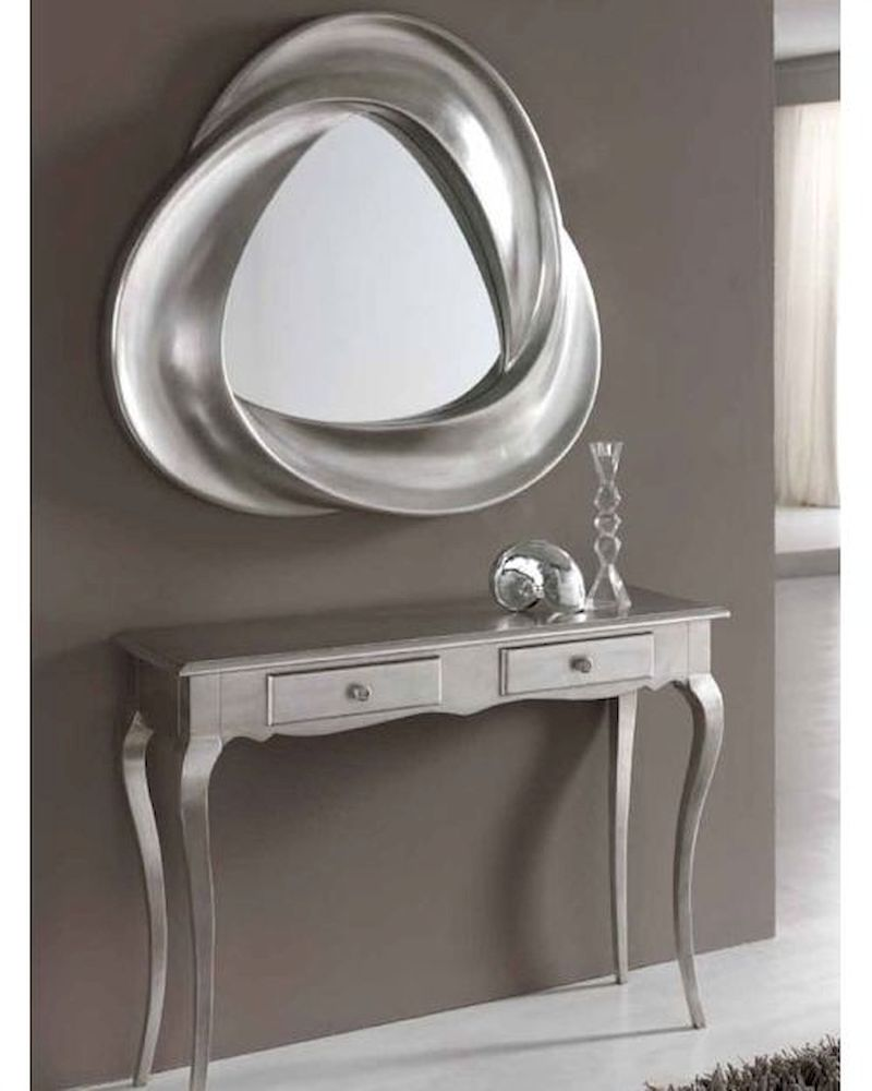 Modern console table and mirror set in silver finish 33c61 for Foyer console table and mirror set