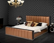 Modern Copper Leather Bed 44B151BD
