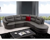Modern Dark Grey Eco-Leather Sectional Sofa 44L5966