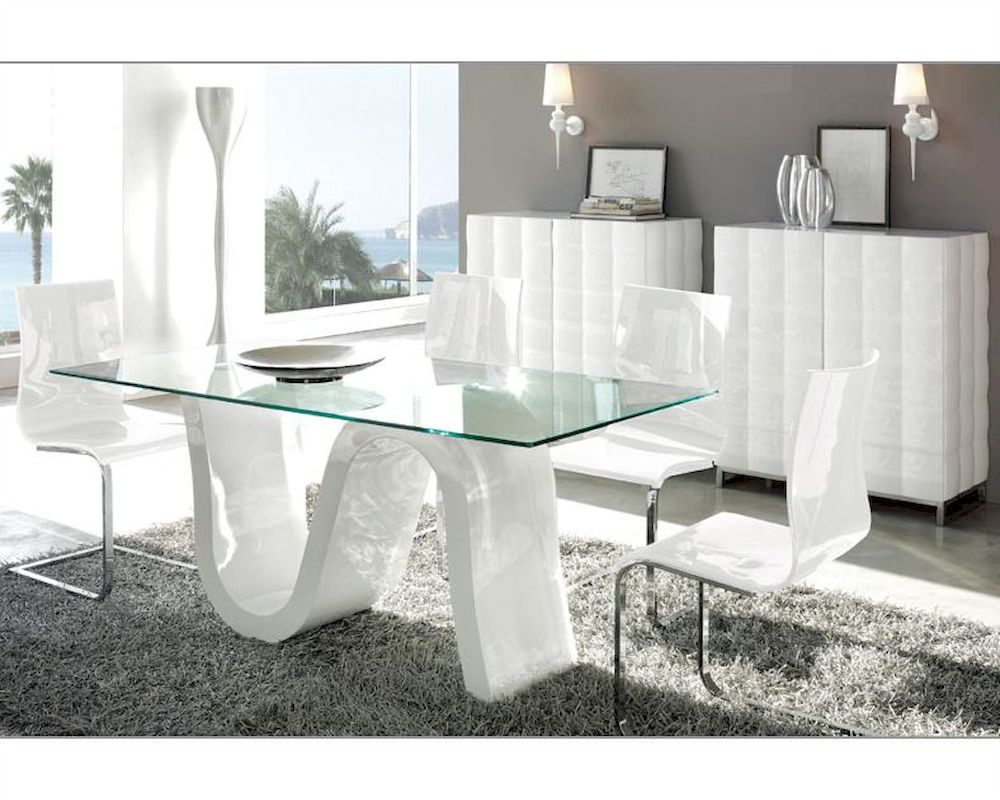 Glass top dining sets modern dining room set made in spain wave 3323wv dzzzfo