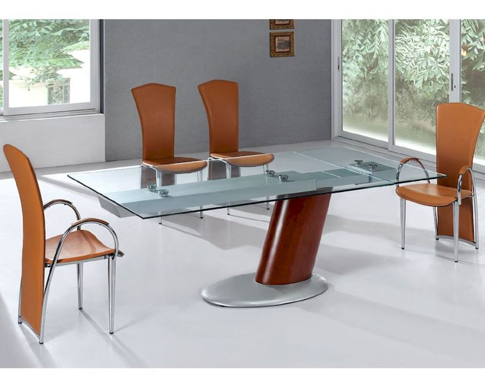 Modern dining set glass top table european design 33d241 for Contemporary dining set
