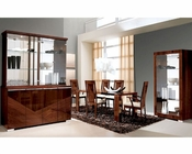 Modern Dining Set in High Gloss Walnut Finish 33D61