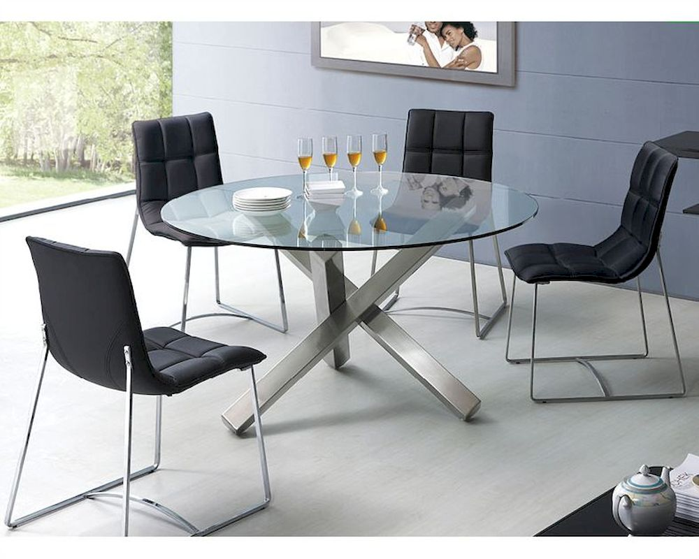 Modern dining set round glass top table european design 33d231 for Glass dining set