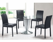 Modern Dining Set Round Glass Top Table European Design 33D281
