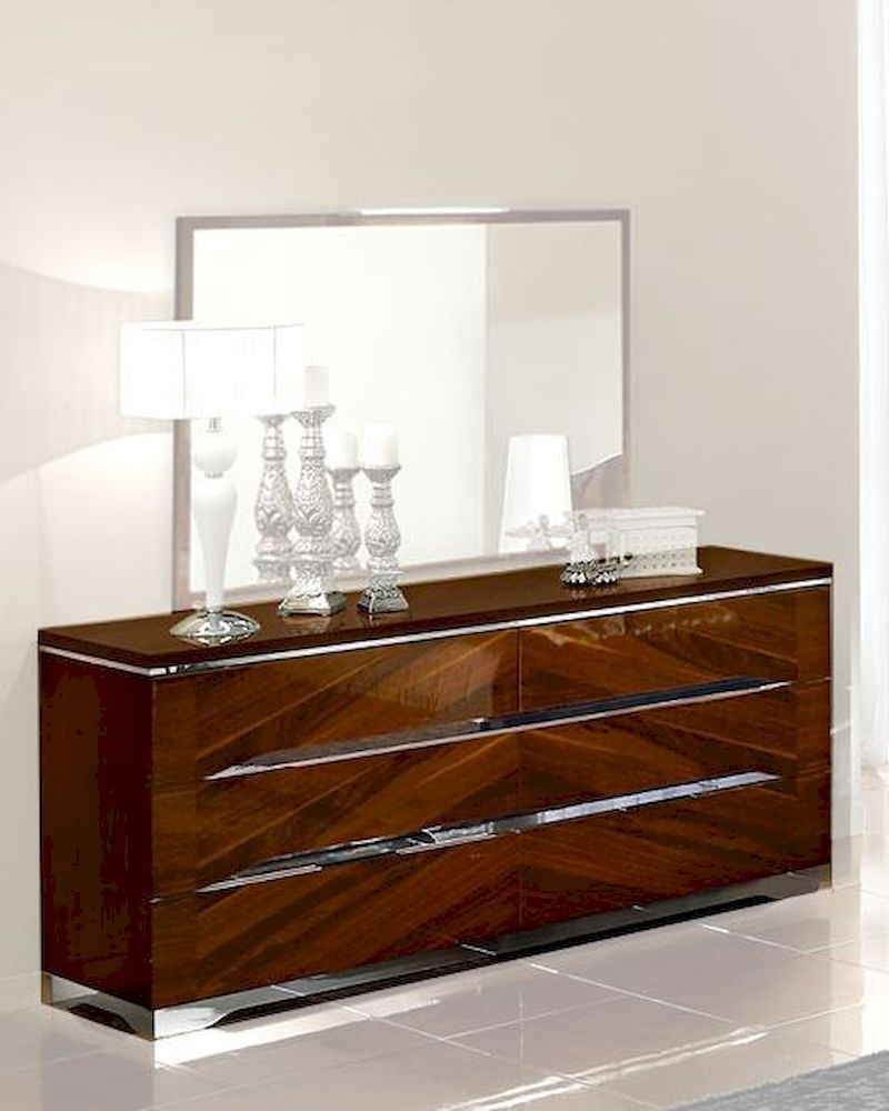 Modern Double Dresser In Dark Cherry Finish Made In Italy