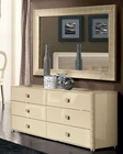 Modern Dresser and Mirror in Beige Finish Made in Italy 33B104
