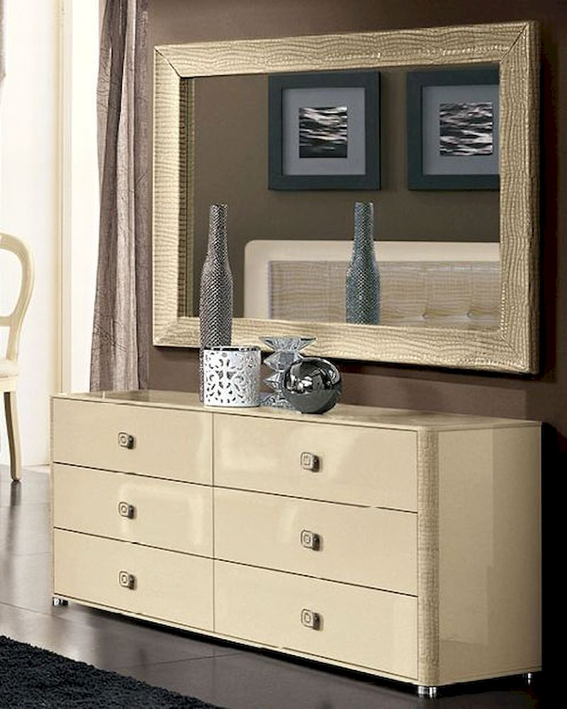 with mirror w and espresso dresser in modern white