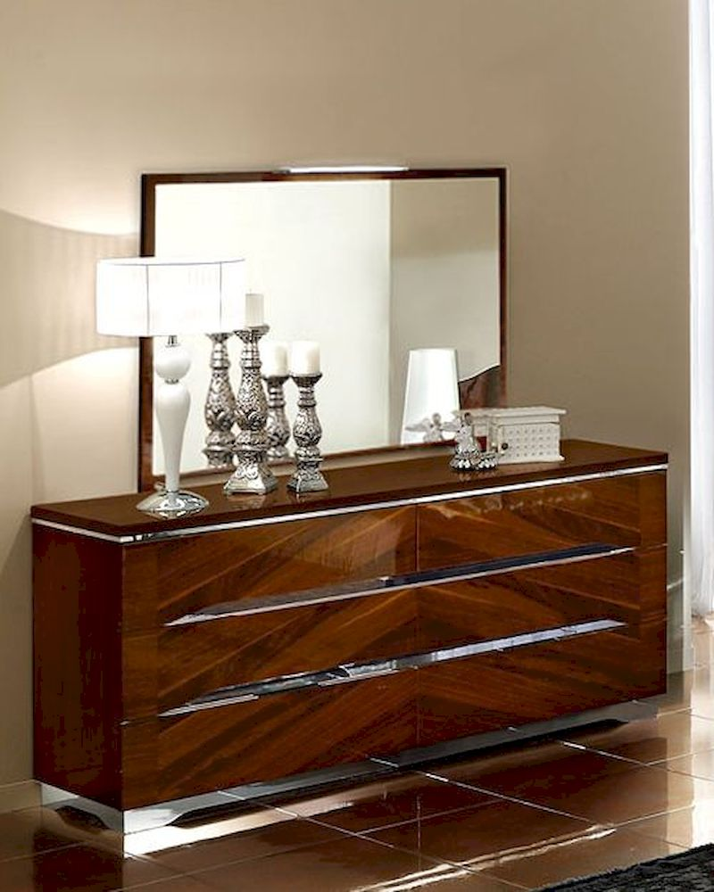 modern dresser and mirror in dark cherry finish made in italy 33b34. Black Bedroom Furniture Sets. Home Design Ideas