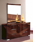 Modern Dresser and Mirror in High Gloss Walnut Finish 33B174
