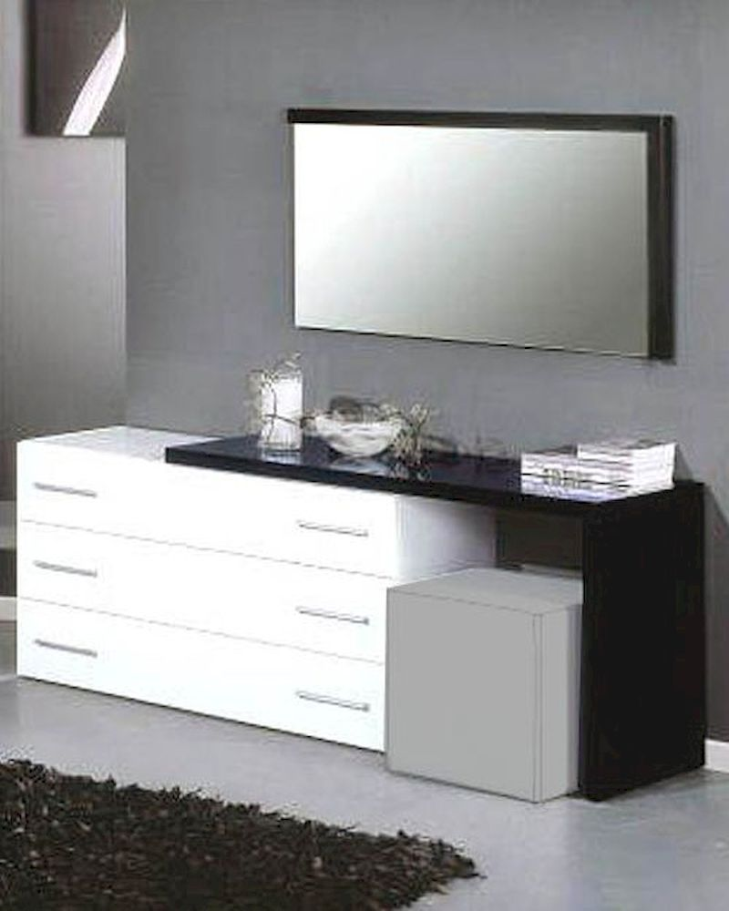 modern dresser mirror in black white finish made in italy 44b5114bw. Black Bedroom Furniture Sets. Home Design Ideas