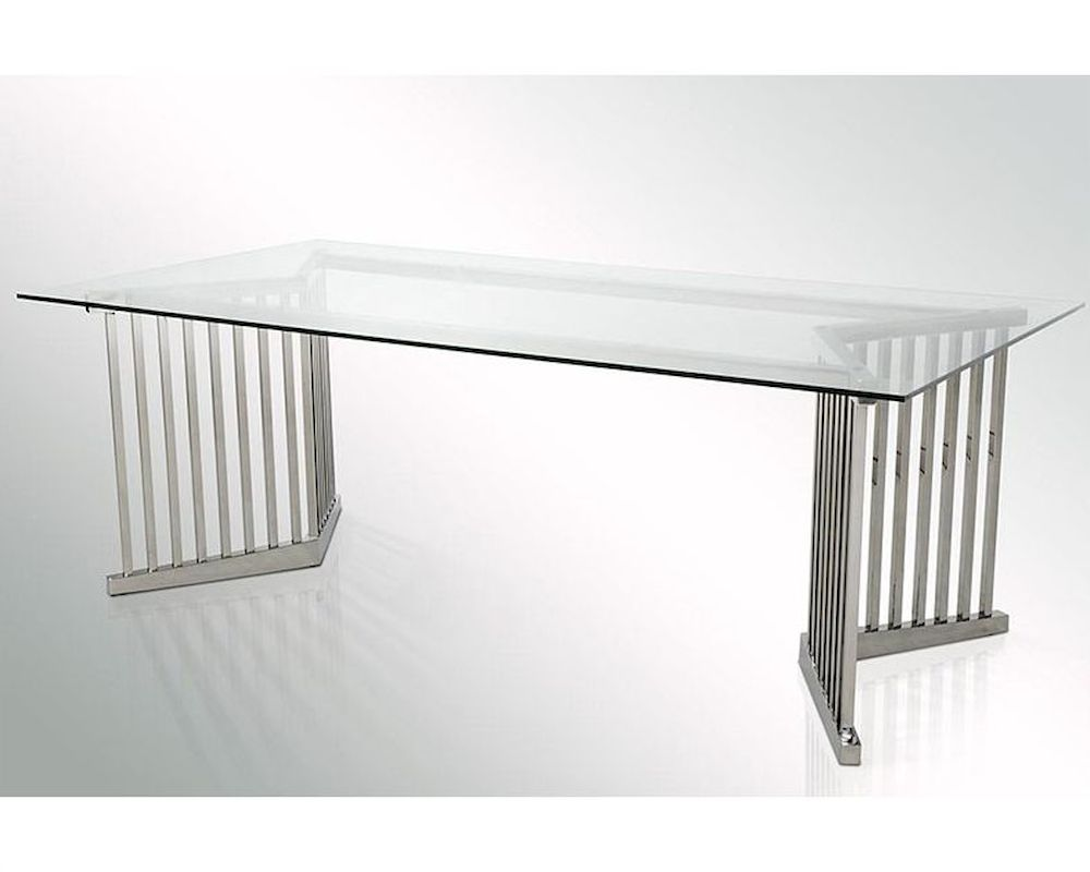 Modern glass rectangular dining table 44d8978t for Contemporary rectangular dining table