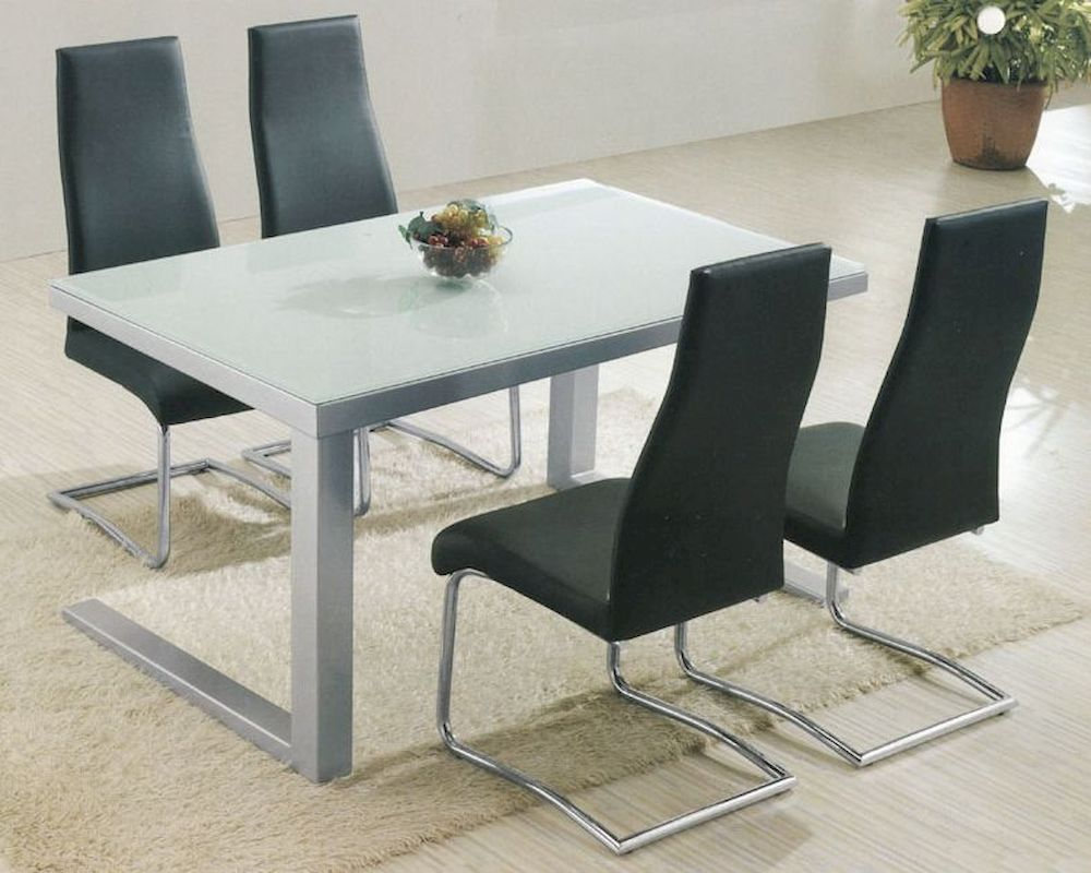 Modern glass top dining set ol 5 for Glass dining set