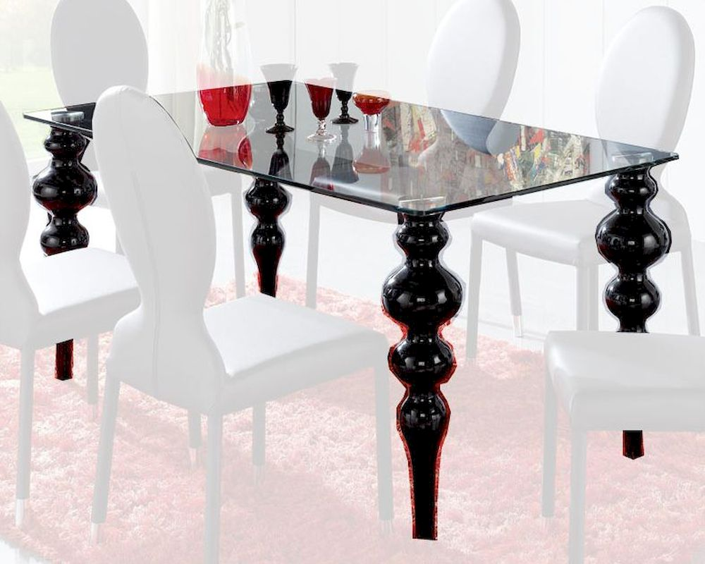 Modern glass top dining table european design made in for Glass top dining table next