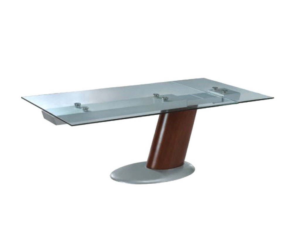 Modern glass top dining table in brown finish european for Best contemporary dining tables