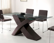 Modern Glass Top Dining Table in Wenge Finish European Design 33D152