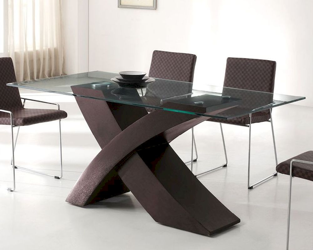 Modern glass top dining table in wenge finish european for Modern contemporary dining table