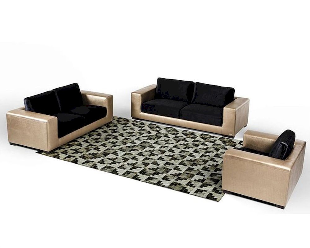 Modern Golden Faux Crocodile Leather Fabric Sofa Set 44l6048