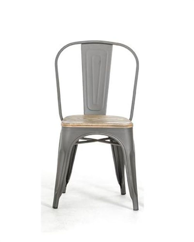 Modern grey dining chair in metal and wood 44d5816 4 set for Contemporary designer dining chairs