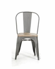 Modern Grey Dining Chair in Metal and Wood 44D5816-4 (Set of 4)