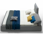 Modern Grey Fabric King Bed w/ Adjustable Headrests 44B184BD