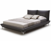 Modern Grey Full Leather Platform Bed 44B179BD
