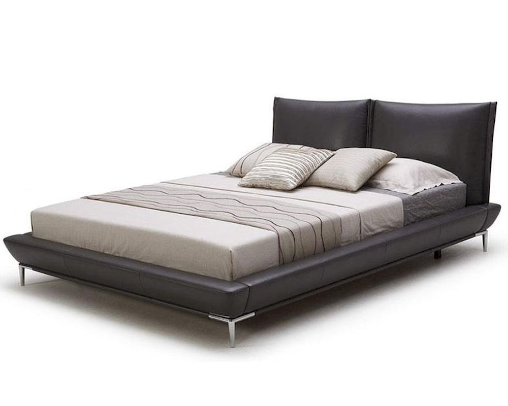 Modern grey full leather platform bed 44b179bd for Contemporary beds