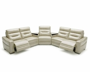 Modern Grey Leather Sectional Sofa w/ Recliners and Consoles 44L5992