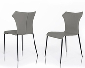 Modern Grey Leatherette Dining Chair 44D219CH (Set of 2)