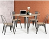 Modern Grey Metal and Wood Square Dining Set 44D14005-SET