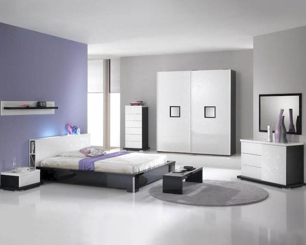 Modern high gloss finish queen bedroom set made in italy for High gloss bedroom furniture