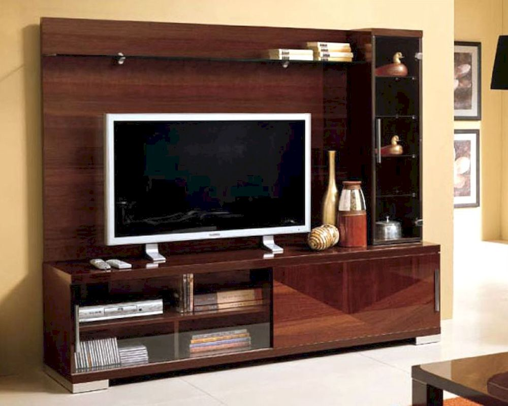 Modern italian entertainment center in walnut finish 33e11 for Modern italian design