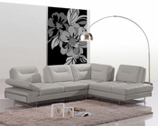 Modern Italian Leather Sectional Sofa w/ Adjustable Backrests 44L6022