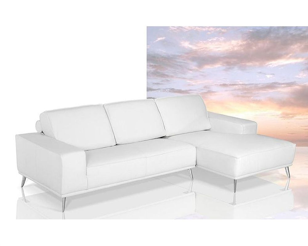 Modern Italian White Leather Sectional Sofa 44l6007
