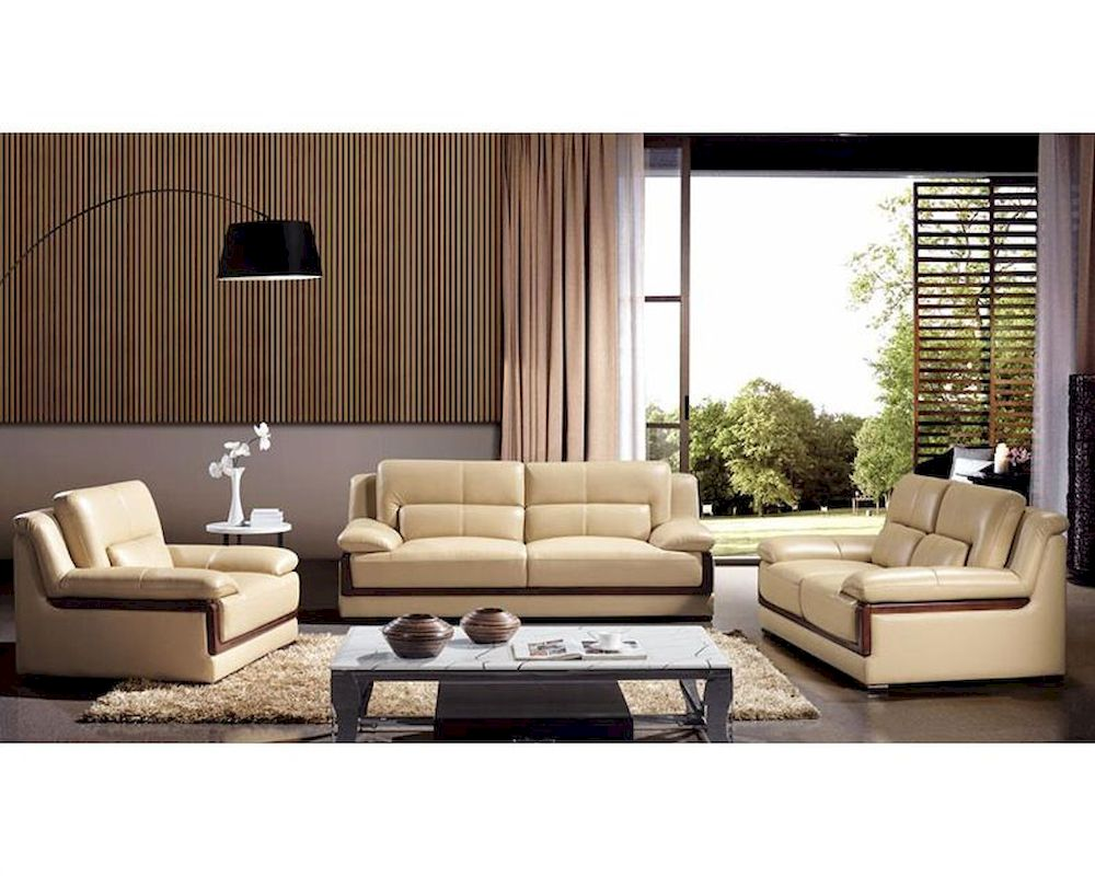 Modern khaki leather sofa set 44l6042 for Latest living room furniture