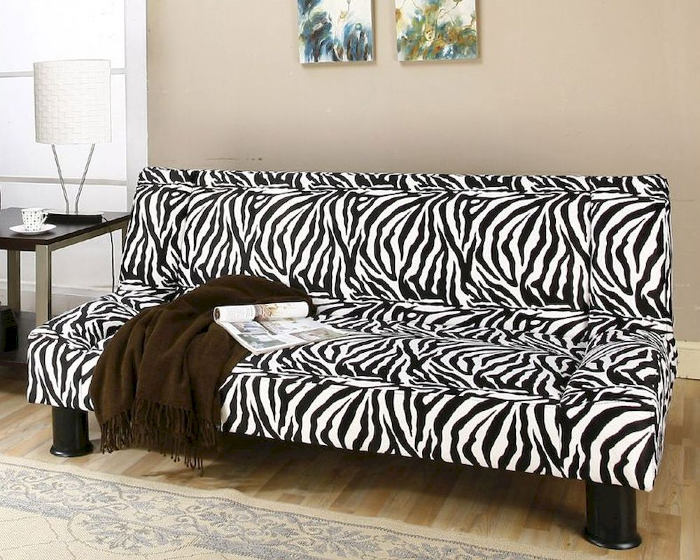 Modern Klik Klak Sofa With Animal Print Fabric Maple Mo Map