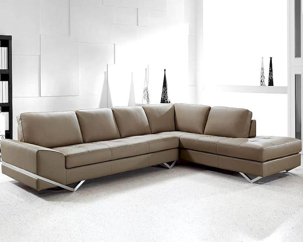 Modern latte leather sectional sofa set 44l0744s for Sectional sofa set up