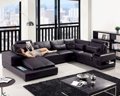 Modern Leather Sectional Sofa 44L5995