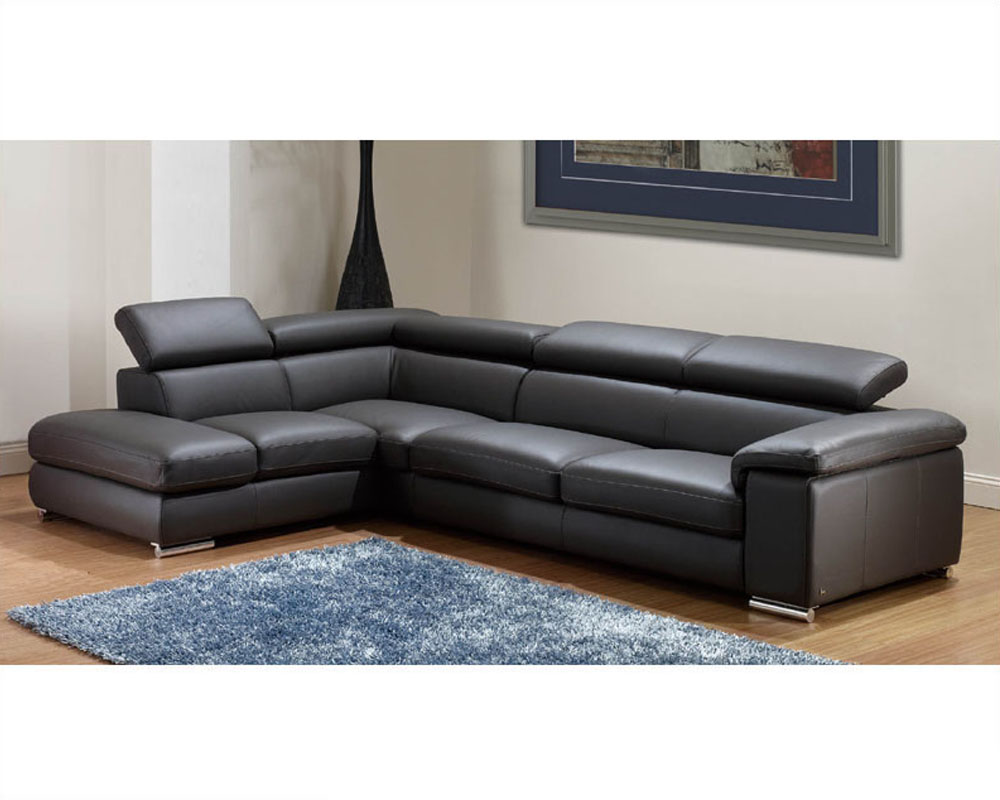 Modern leather sectional sofa set in dark grey finish 33ls131 for Leather sectional sofa
