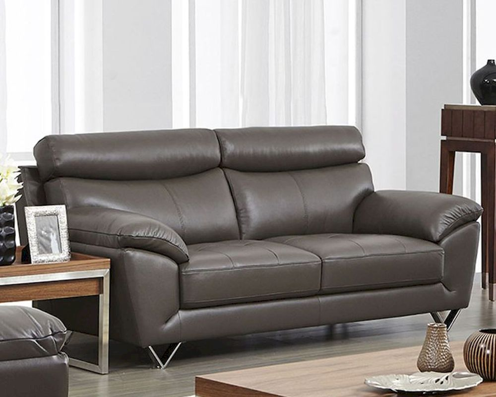 Modern leather sofa in grey color esf8049s for Modern leather sofa