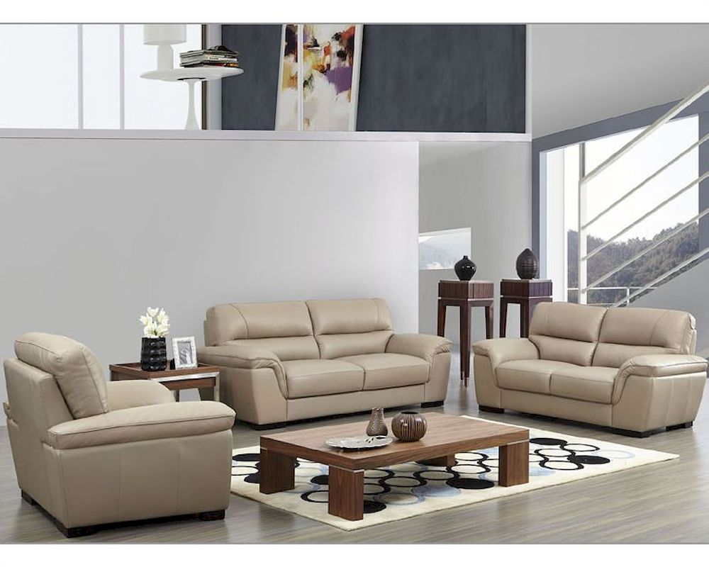 Modern leather sofa set in beige color esf8052set for Contemporary leather furniture