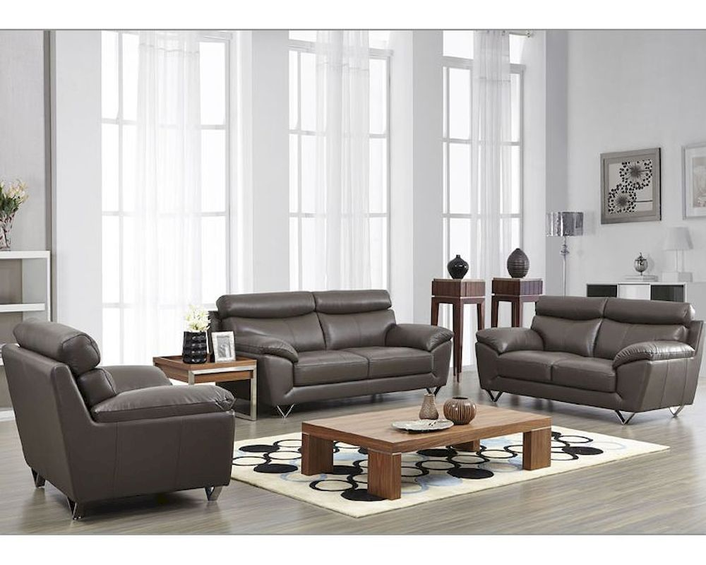 . Modern Leather Sofa Set in Grey Color ESF8049SET