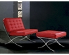 "Modern Leather ""X"" Leg Chair And Ottoman Lounge Set 44LG0364"