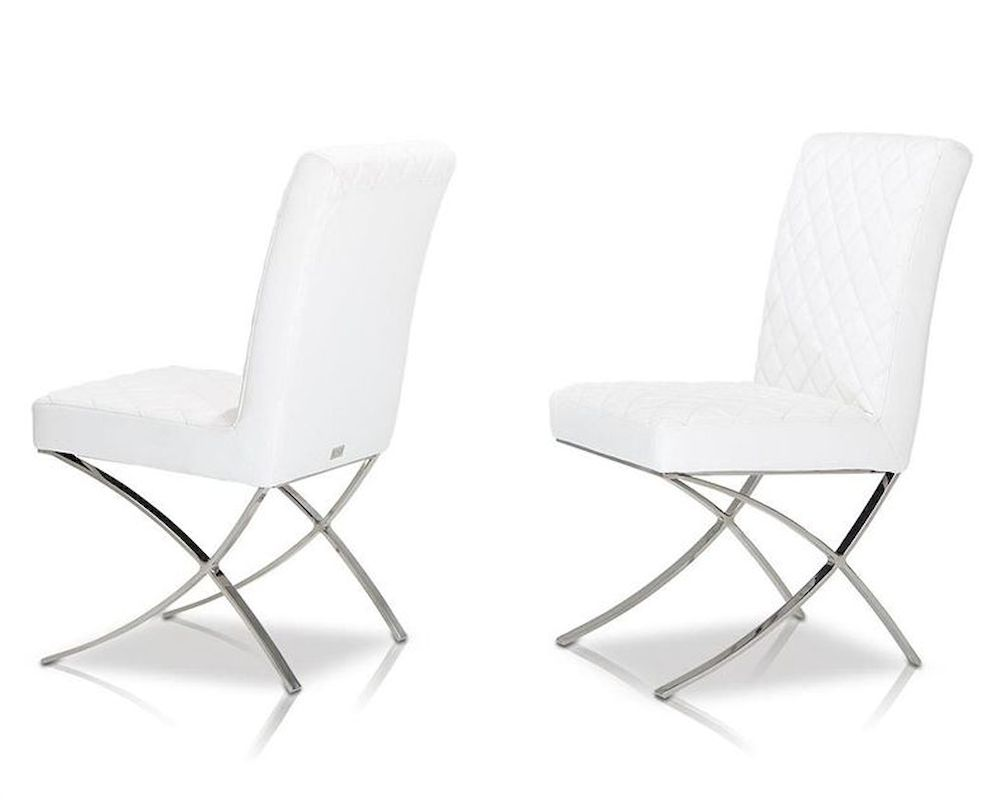 Modern leatherette white dining chair 44d1012 for Contemporary white dining chairs