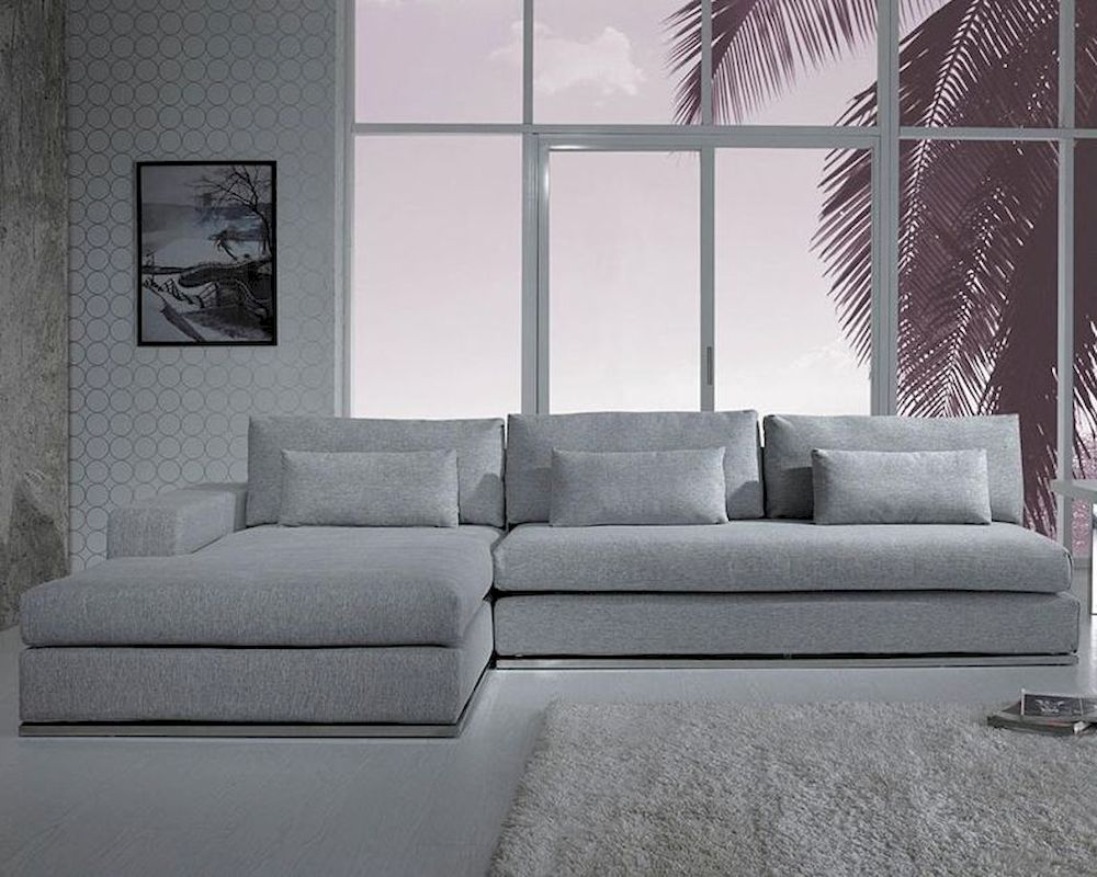 Modern light grey fabric sectional sofa 44l6096 for Modern light grey fabric sectional sofa