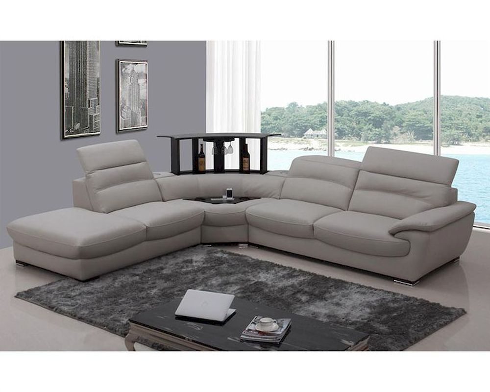 Modern light grey italian leather sectional sofa 44l5962 for Modern sectional
