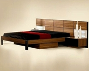 Modern Light Walnut Finish Bed with Night Stands Made in Italy 44B6712