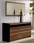 Modern Light Walnut Finish Dresser and Mirror Made in Italy 44B6714