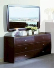 Modern Made in Italy Wenge Finish Dresser with Mirror 44B5814