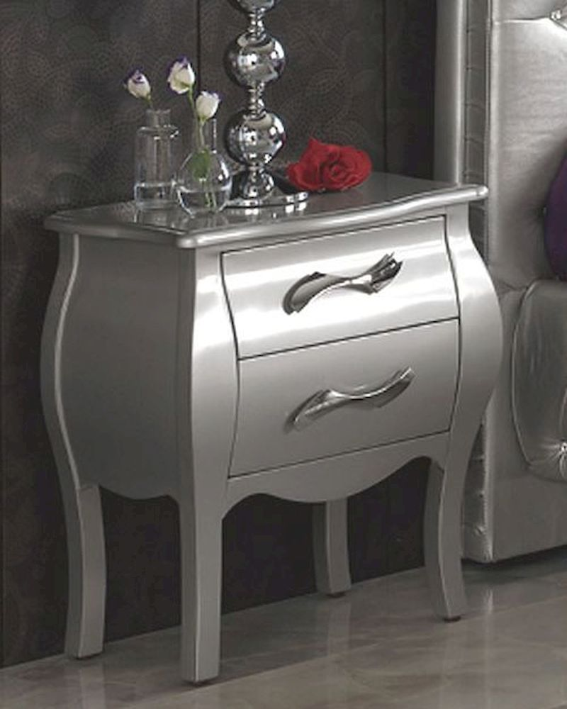 Modern Night Stand Lolita In Silver Finish Made In Spain